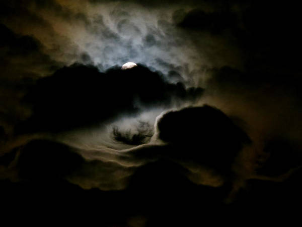 Clouds Art Print featuring the photograph Dark Moon Mystery by Azthet Photography