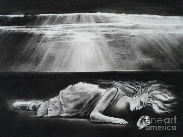 Darkness Art Print featuring the drawing Darkness Falls Upon Me by Carla Carson