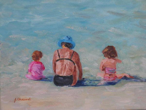 Beach Art Print featuring the painting Day At The Beach by Joe Chicurel