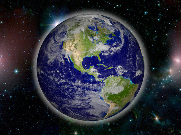 Horizontal Art Print featuring the photograph Digitally Generated Image Of Planet Earth by Calysta Images
