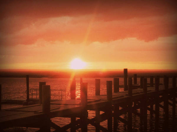 Dock Art Print featuring the photograph Dock Sunset by Mary McCusker
