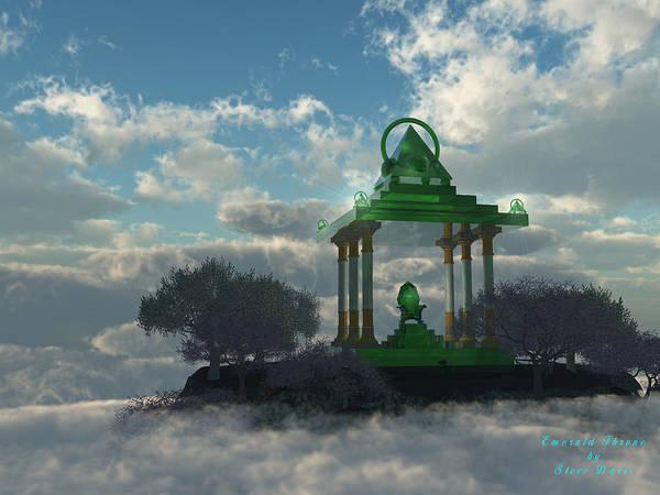 Ethereal Art Print featuring the digital art Emerald Throne by Steve Davis