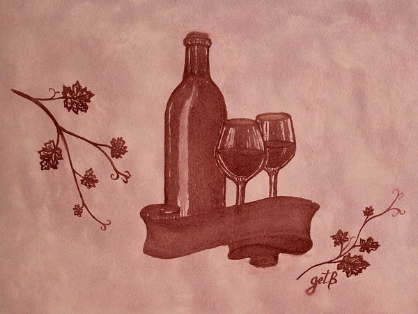 Red Wine Art Print featuring the painting Enjoying Red Wine Painting With Red Wine by Georgeta Blanaru