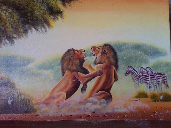 Art Print featuring the painting Fighting Lions by John