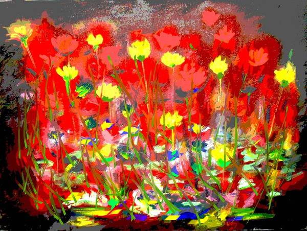 Flowers Art Print featuring the mixed media Flowers by Samuel Daffa