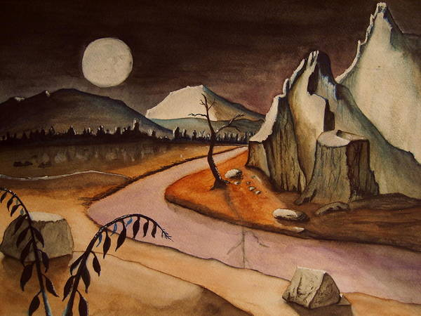 Art Print featuring the painting Full Moon Valley by Bob Arata