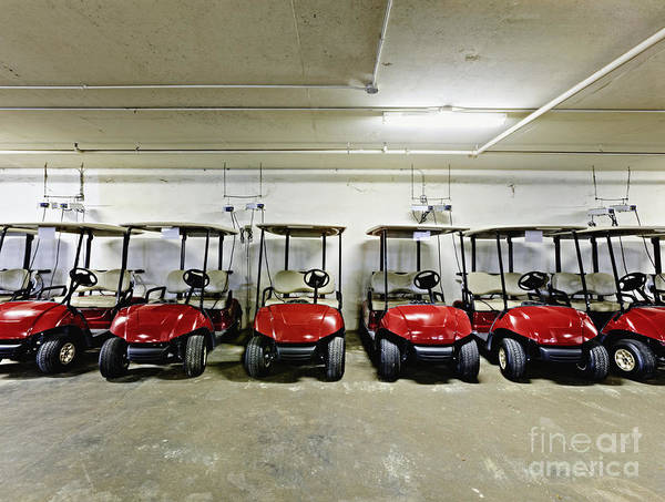 Basement Art Print featuring the photograph Golf Cart Parking Garage by Skip Nall