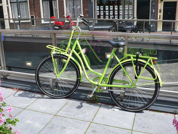 Bike Art Print featuring the photograph Green Bike Haarlem Holland by Gregory Smith