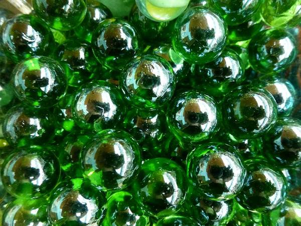 Green Art Print featuring the photograph Green Marbles by Ed Lukas