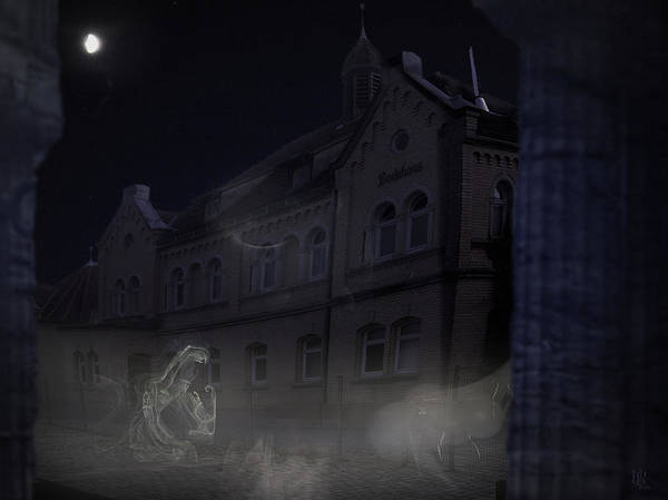 Scary Art Print featuring the digital art Haunted House by Nafets Nuarb