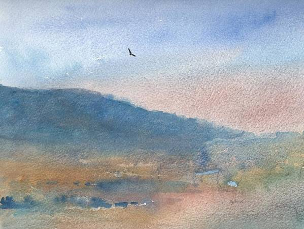 Watercolour Landscape Print featuring the painting Hawk At Sunset Over Stenbury Down by Alan Daysh