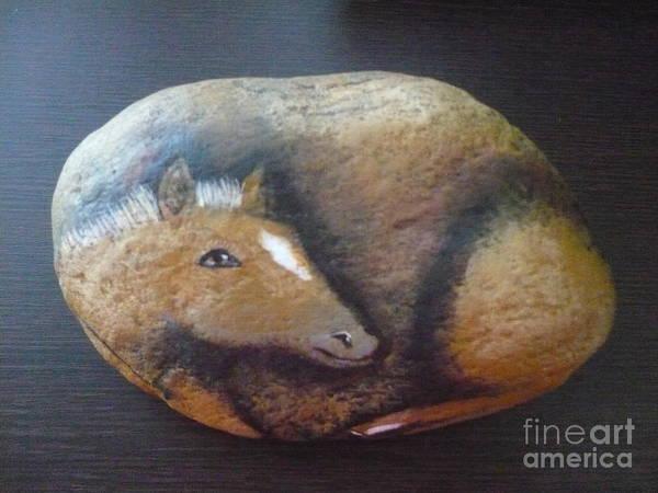 Rock Art Print featuring the painting Horse-colt by Monika Shepherdson