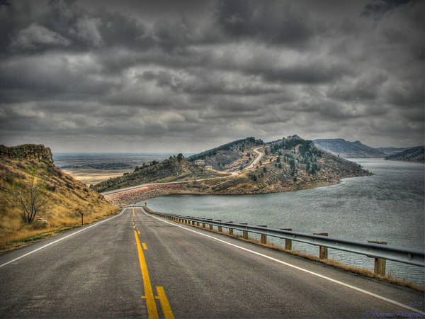 Horsetooth Reservoir Print featuring the photograph Horsetooth Reservoir Stormy Skies Hdr by Aaron Burrows