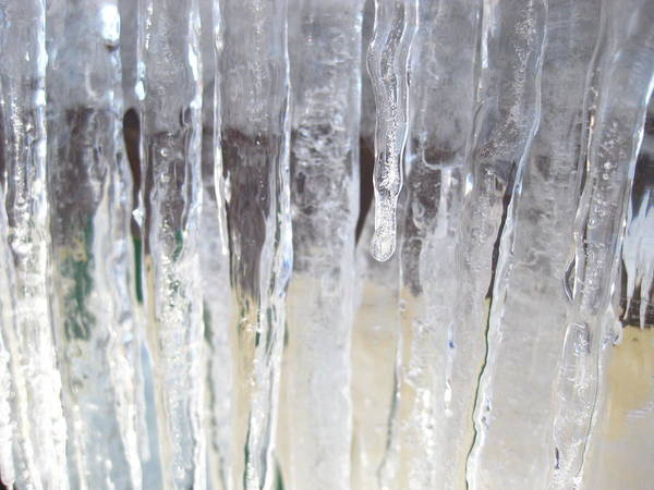 Ice Art Print featuring the photograph Icicle Curtain by Teresa Rogers