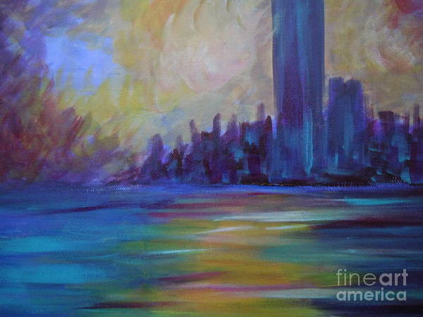Landscape Art Print featuring the painting Impressionism-city And Sea by Soho