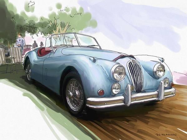 Jaguar Art Print featuring the painting Jaguar X K 140 by RG McMahon