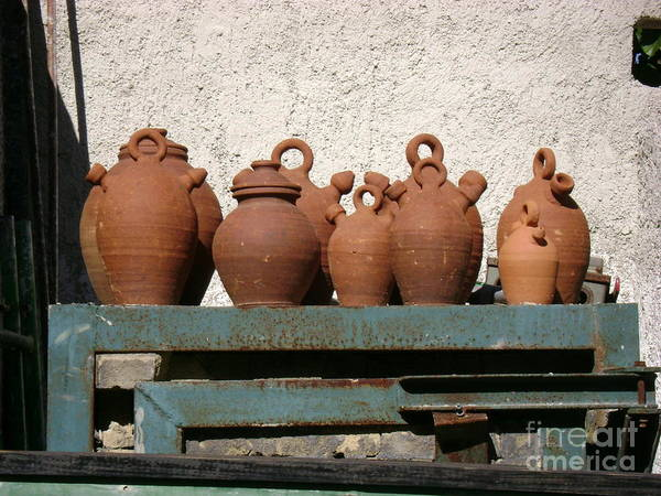 Ceramic Art Print featuring the photograph Jugs On A Shelf by Laurel Fredericks