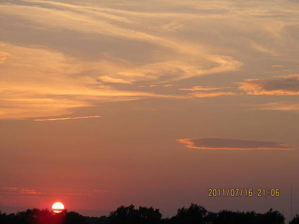 Suns Art Print featuring the photograph July 16 Sunset Two by Tina M Wenger