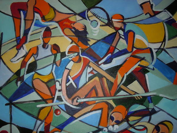 Mural Print featuring the painting London Olympics Inspired by Michael Echekoba