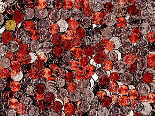 Kitsch Art Print featuring the photograph Loose Change . 9 To 12 Proportion by Wingsdomain Art and Photography