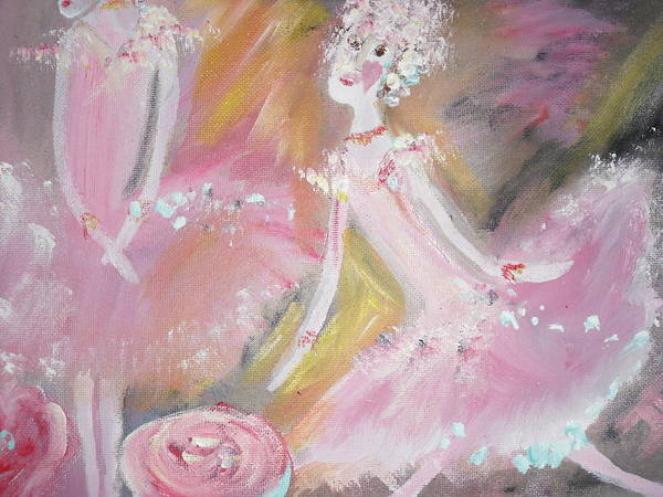 Ballet Art Print featuring the painting Love Rose Ballet by Judith Desrosiers