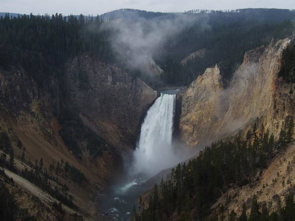 Nature Art Print featuring the photograph Lower Falls At Yellowstone by Wendy Hope