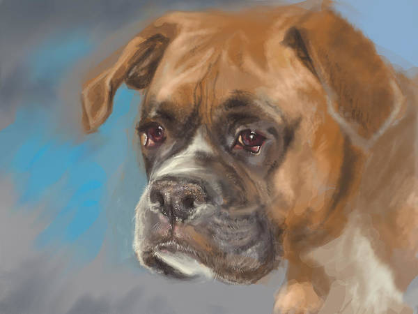 Dog Art Print featuring the digital art Lucky by Anastasia Michaels