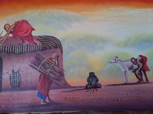 Art Print featuring the painting Manyatta Thatching by John