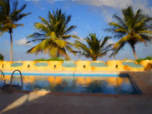 Palm Trees Mexico Pool Reflection Blue Sky Maya Art Print featuring the digital art Maya Palms 2 by Geoff Strehlow