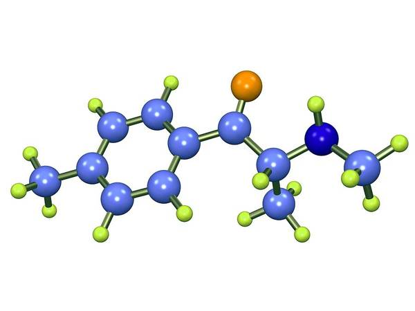 Mephedrone Print featuring the photograph Mephedrone Molecule by Dr Mark J. Winter