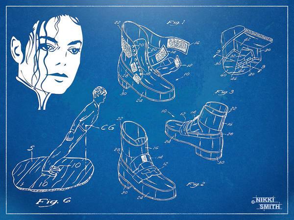 Michael Jackson Art Print featuring the digital art Michael Jackson Anti-gravity Shoe Patent Artwork by Nikki Marie Smith