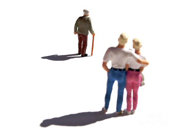 Watching Print featuring the photograph Miniature Figurines Couple Watching Elderly Man by Bernard Jaubert