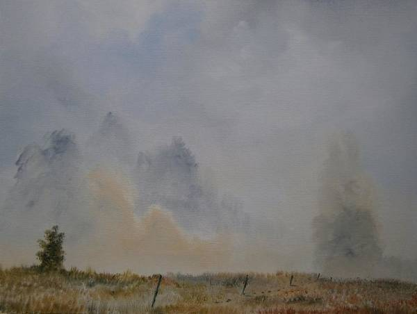 Trees Art Print featuring the painting Mist Lifting by Andy Davis