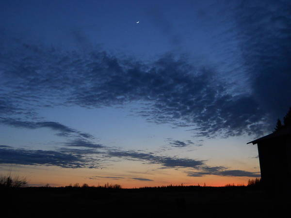 Moon Art Print featuring the photograph Moon And Clouds At Dusk by Kent Lorentzen