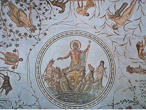 Roman Art Print featuring the photograph Mosaic Neptune Rising by David Rich