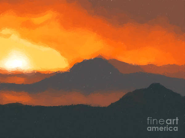 Mountain Art Print featuring the painting Mountain Sunset by Pixel Chimp