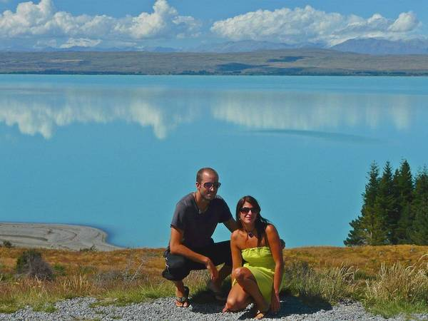 Couple Art Print featuring the photograph Mt. Cook Lake by David Rich