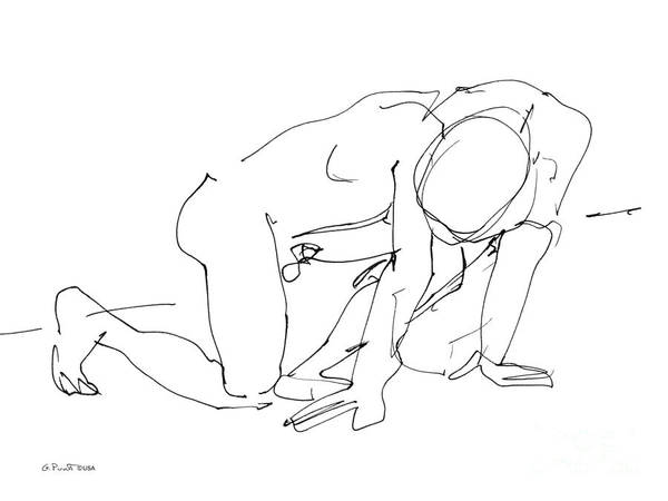 Male Art Print featuring the drawing Naked-man-art-18 by Gordon Punt