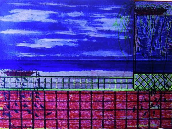 Midnight Art Print featuring the drawing Night At Serene Patio by Adolfo hector Penas alvarado