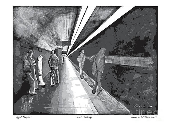 Night Print featuring the painting Night People In Black And White by Kenneth De Tore