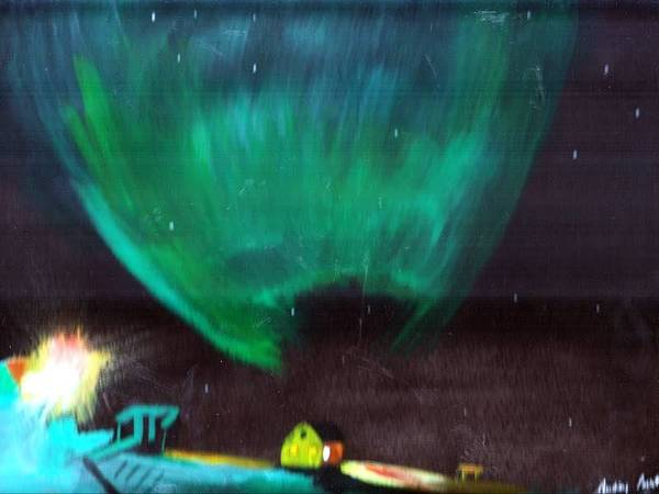 Northern Lights Art Print featuring the painting Norther Lights 4 by Audrey Pollitt
