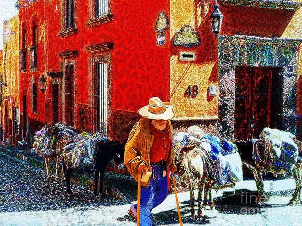 John+kolenbergold Timer Art Print featuring the photograph Old Timer With His Burros On Umaran Street by John Kolenberg