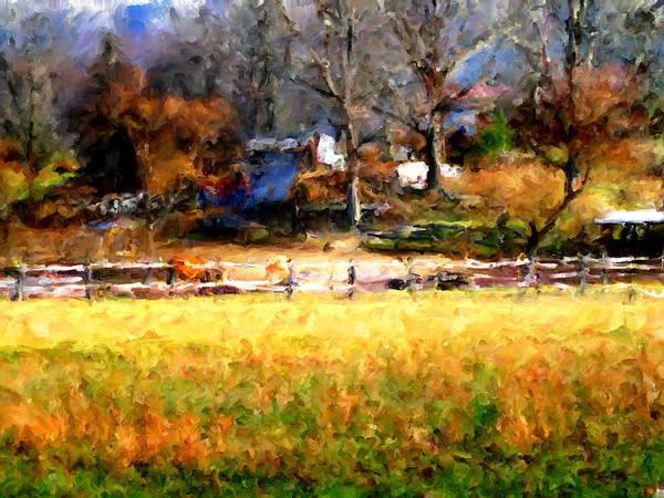 Farm Art Print featuring the digital art Our View by Marilyn Sholin