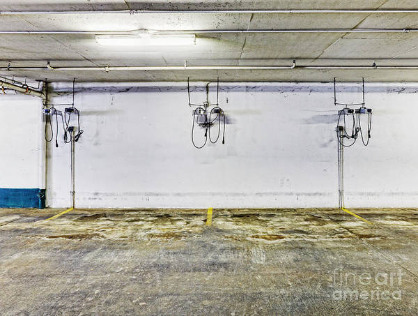 Basement Print featuring the photograph Parking Garage With Charging Stalls by Skip Nall