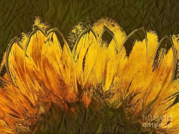 Sunflower Art Print featuring the digital art Petales De Soleil - A43t02b by Variance Collections