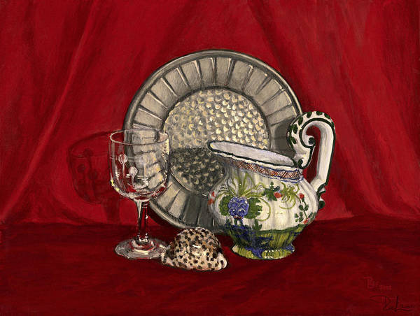 Tempera Art Print featuring the painting Pewter Dish With Red Cloth. by Raffaella Lunelli