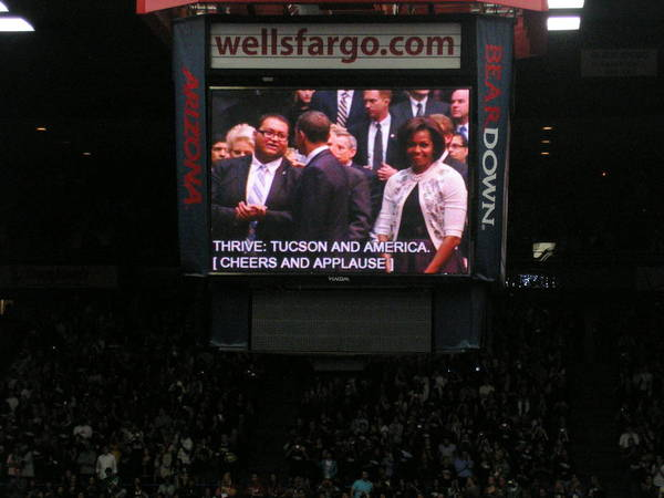 President Obama Print featuring the photograph President And Michelle Obama Tucson by Jayne Kerr