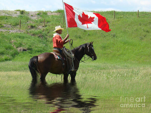 Al Bourassa Art Print featuring the photograph Proudly Carrying The Flag by Al Bourassa