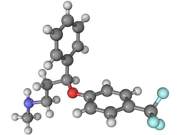 Molecular Print featuring the photograph Prozac Antidepressant Molecule by Laguna Design