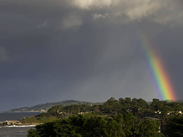 Rainbow Print featuring the photograph Rainbow Over Carmel by Mike Herdering